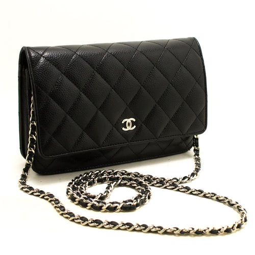 CHANEL Caviar Wallet On Chain WOC Black Shoulder Bag Crossbody Q91