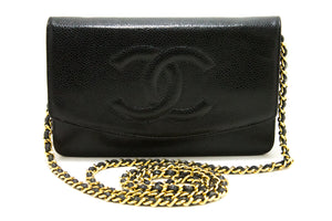 CHANEL Caviar Wallet On Chain WOC Black Shoulder Bag Crossbody R51-Messenger & Cross Body Clutch Shoulder Bag-hannari-shop