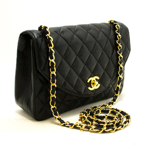 CHANEL Half Moon Chain Shoulder Bag Crossbody Black Quilted Flap Q25-Chanel-hannari-shop
