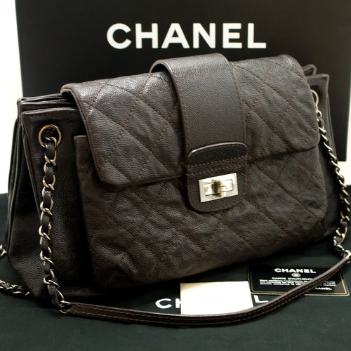 CHANEL Caviar Chain Shoulder Bag Dark Brown Silver Quilted Flap g33