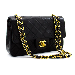 "CHANEL 2.55 Double Flap 9 ""Classic Chain Shoulder Bag Black Lamb y25 hannari-shop"
