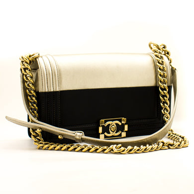 CHANEL Bicolor Medium Boy Flap Chain Shoulder Bag Black Gold a26 hannari-shop