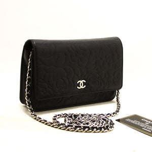 CHANEL Black Camellia Embossed Wallet On Chain WOC Shoulder Bag R57-anel-hannari-shop