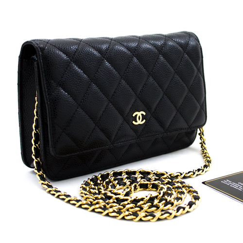 CHANEL ҳамён Caviar оид ба занҷир WOC Black Shoulder халтаи Crossbody u96 hannari-мағозаи