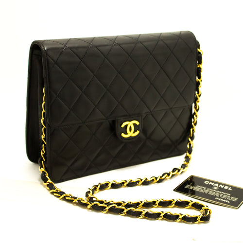 CHANEL Small Chain Shoulder Bag Clutch Black Quilted Flap Lambskin Q29-Chanel-hannari-shop