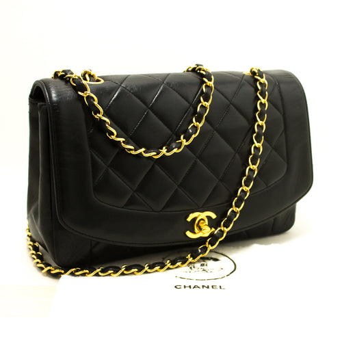 CHANEL Diana Flap Chain Shoulder Bag Crossbody Black Quilted Lamb p40-Chanel-hannari-shop