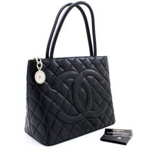 CHANEL Silver Medallion Caviar Shoulder Bag Shopping Tote Black t31