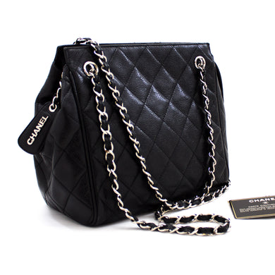 CHANEL Caviar Chain Shoulder Bag Black Quilted Skin Zipper t88