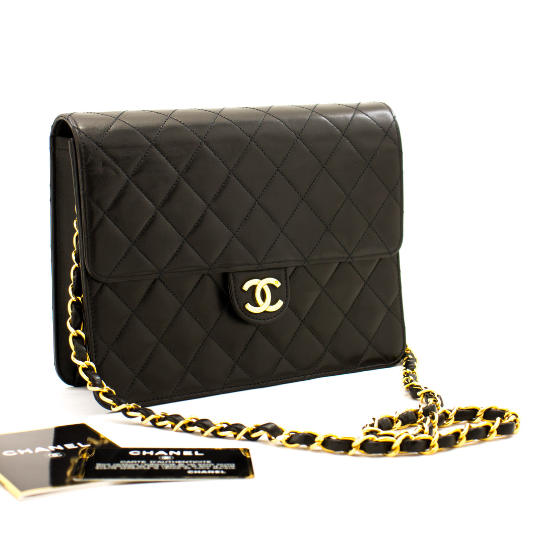 CHANEL Small Chain Shoulder Bag Clutch Black Quilted Flap Lambskin a22 hannari-shop