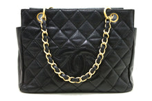 CHANEL Caviar Chain Handbag Bag Shopping Tote Black Quilted Purse R55-Tote-hannari-shop