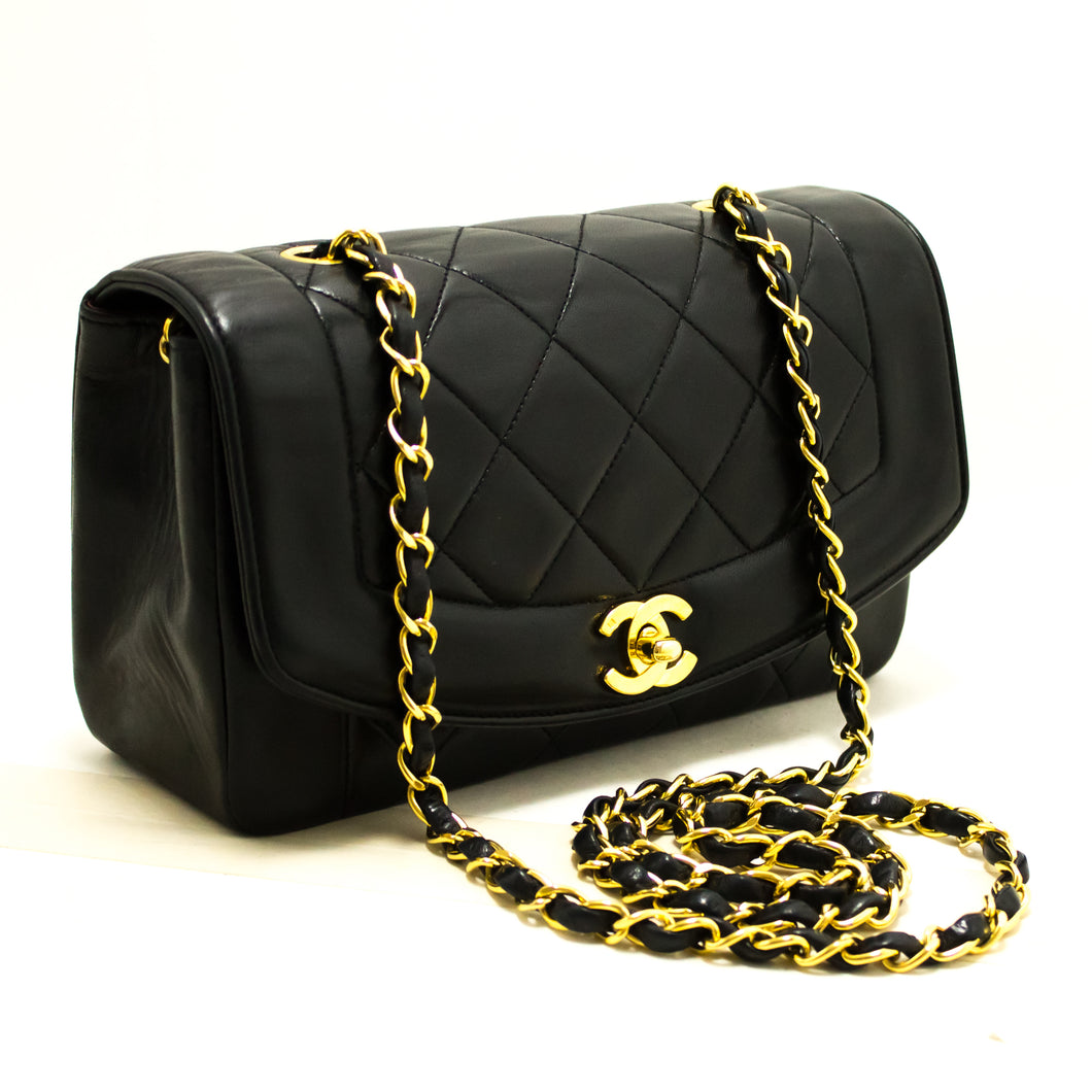 CHANEL Diana Flap Chain Shoulder Bag Crossbody Black Quilted Lamb Q26