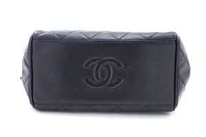 CHANEL Caviar Chain Shoulder Bag Black Quilted Leather Zipper t88-hannari-shop