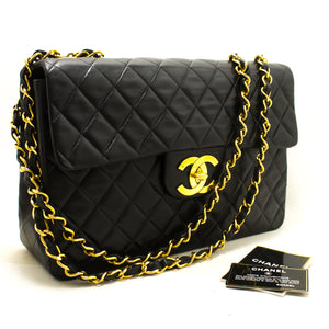"CHANEL Jumbo 13"" Maxi 2.55 Flap Chain Shoulder Bag Black Lambskin p36"
