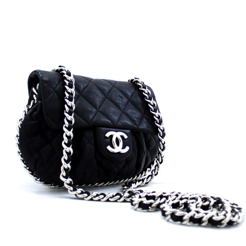 CHANEL Chain Around Shoulder Bag Crossbody Black Calfskin Leather x93 hannari-shop