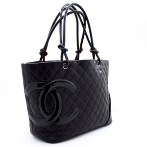 CHANEL Cambon Tote Large Shoulder Bag Black Quilted Calfskin u06