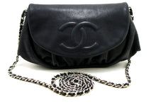 CHANEL Caviar Half Moon WOC Black Wallet On Chain Shoulder Bag Q27