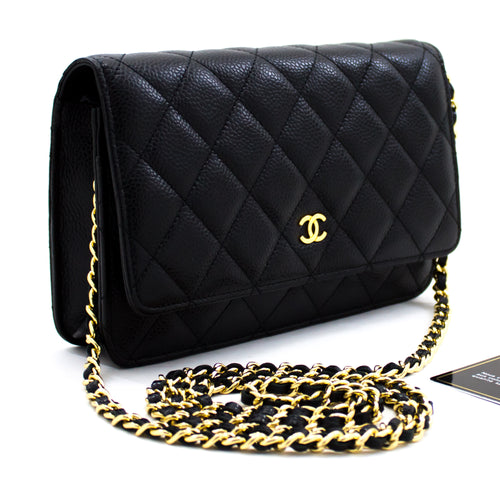 CHANEL ҳамён Caviar оид ба занҷир WOC Black Shoulder халтаи Crossbody u95 hannari-мағозаи