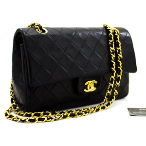 "CHANEL 2.55 Double Flap 10"" Chain Shoulder Bag Black Lambskin y23 hannari-shop"