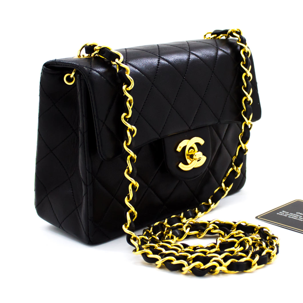 CHANEL Mini Square Small Chain Shoulder Bag Crossbody Black Quilt t38-hannari-shop