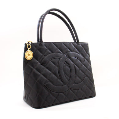 CHANEL Gold Medallion Caviar Shoulder Bag Grand Shop Tote Black a28 hannari-shop