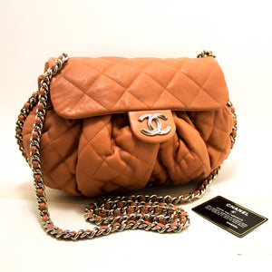 CHANEL Pink Chain Around Shoulder Bag Crossbody Quilted Flap Q24