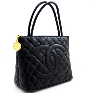 CHANEL Gold Medallion Caviar Shoulder Bag Shopping Tote Black u99 hannari-shop
