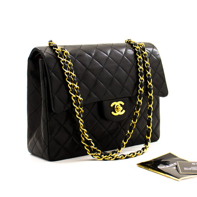 CHANEL 2.55 Double Flap Square Chain Shoulder Bag Black Lambskin a30 hannari-shop