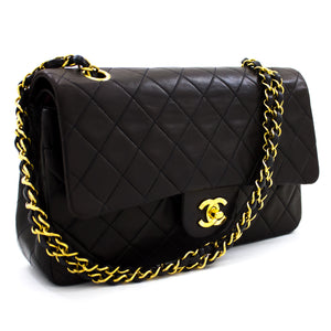 "CHANEL 2.55 Double Flap 10"" Chain Shoulder Bag Black Quilted Lamb t40"