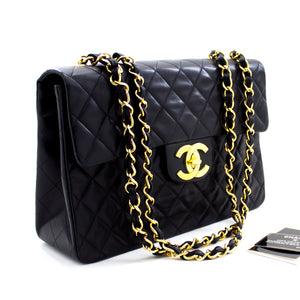 "CHANEL Jumbo 13"" Maxi 2.55 Flap Chain Shoulder Bag Black Lambskin u33 hannari-shop"