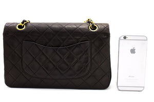 "CHANEL 2.55 Double Flap 10"" Chain Shoulder Bag Black Quilted Lamb t40-hannari-shop"
