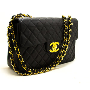 "CHANEL Jumbo 13"" Maxi 2.55 Flap Chain Shoulder Bag Black Lambskin Q33"