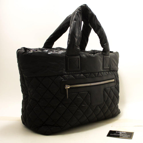 CHANEL Coco Cocoon Nylon Jumbo Large Tote Bag Handbag Black R17-Chanel-hannari-shop