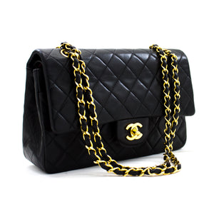 "CHANEL 2.55 Double Flap 10 ""Classic Chain Shoulder Bag Black y32 hannari-shop"