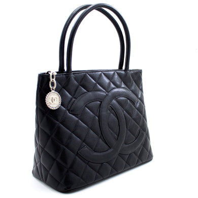CHANEL Silver Medallion Caviar Shoulder Bag Shopping Tote Black x04 hannari-shop