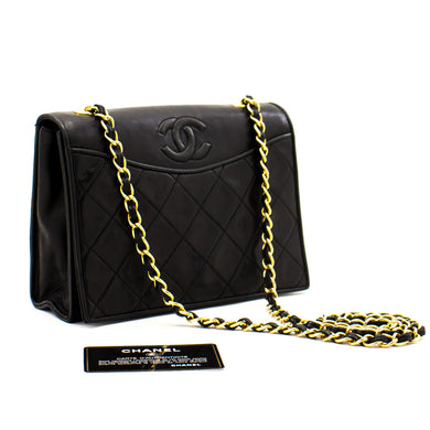 CHANEL Full Flap Classic Chain Shoulder Bag Black Quilted Lambskin a19 hannari-shop