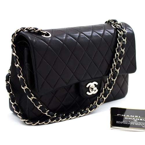 CHANEL 2.55 Silver Double Flap Chain Shoulder Bag Black Quilted t13