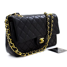 "CHANEL 2.55 Double Flap 10 ""Chain Shoulder Bag Black Lambskin u41 hannari-shop"