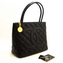 CHANEL Gold Medallion Caviar Shoulder Bag Shopping Tote Black R12-Shoulder Bag-hannari-shop