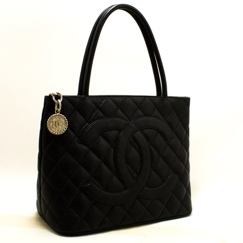 CHANEL Silver Medallion Caviar Shoulder Bag Shopping Tote Black Q72