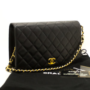 CHANEL Chain Shoulder Bag Clutch Black Quilted Flap Lambskin n86-hanel-hannari-shop
