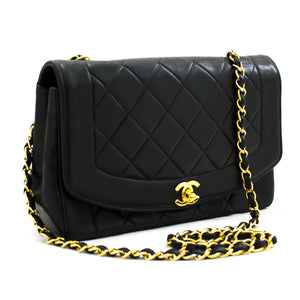 CHANEL Diana Flap Chain Shoulder Bag Crossbody Black Lambskin y28 hannari-shop