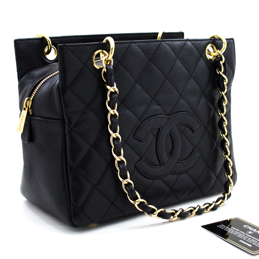CHANEL Caviar Chain Shoulder Bag Shopping Tote Black Quilted Gold u88 hannari-shop
