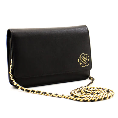 CHANEL Caviar Black Camellia Wallet On Chain WOC Shoulder Bag a16 hannari-shop
