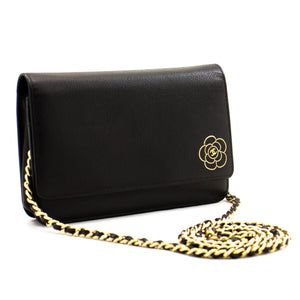 CHANEL Caviar Black Camellia Wallet On Chain Bolso de hombro WOC a16 hannari-shop