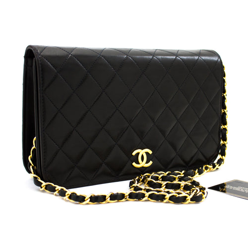 CHANEL Chain Shoulder Bag Clutch Black Quilted Flap Lambskin u31-hannari-shop