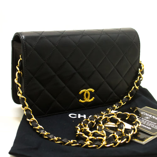 CHANEL Small Chain Shoulder Bag Clutch Black Quilted Flap Lambskin n87