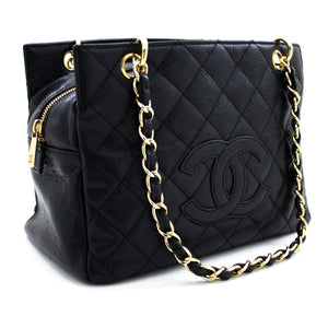 CHANEL Caviar Chain Shoulder Bag Shopping Tote Black Quilted Purse u90 hannari-shop