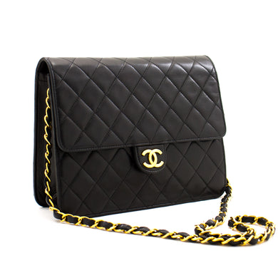 CHANEL Small Chain Shoulder Bag Clutch Black Quilted Flap Lambskin a33 hannari-shop
