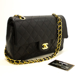 "CHANEL 2.55 Double Flap 10"" Chain Shoulder Bag Black Quilted Lamb R65-Shoulder Bag-hannari-shop"