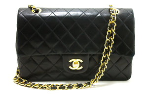 "CHANEL 2.55 Double Flap 10 ""Chain Shoulder Bag Black Quilted Lamb R65-Shoulder Bag-hannari-shop"
